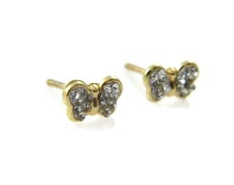 14K gold butterfly earrings. Gold butterfly earring. Gold post earrings. Gold earrings. gold butterfly crystal studs. 14k earrings(e04223gz)