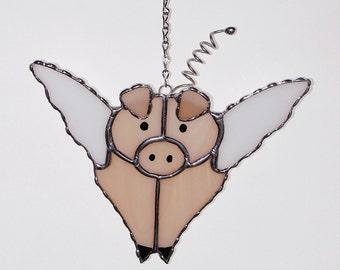 Stained Glass Suncatcher - Pink Flying Pig, When Pigs Fly, Original Design, Handmade
