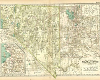 NEVADA and UTAH - 1902 Century Atlas  book page