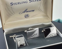 Sterling Silver Anson Cufflinks and Lapel  Tie Pin Set.  Original Box .Rectangle Cufflinks. Formal Wear. Wedding . No.002095