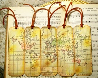 Historical World Map Bookmarks Gifts for Him World Languages Set of 5 Old Map Bookmark Map Lovers' Gifts for Map Collectors Gifts for Men