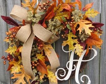 Wreath, Fall / Autumn Wreath with Burlap, Fall Wreath with Letter, Burlap Wreath, Fall Monogram Wreath ,Fall Leaves, Fall Gathering Wreath