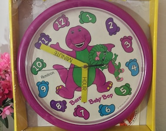 RARE Find ~ Never Used Deadstock 1993 Barney And Baby Bop Quartz Wall Clock By Armitron ~ Comes To You In The Original Packaging ~ CUTE!!