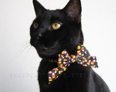 SALE!  Cat Bow - Candy Corn Crazy - Halloween Cat Accessory