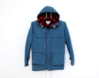 Vintage LL Bean Mens Baxter State Parka Jacket Small Blue Red Plaid Hood Hooded Wool Blend L L Bean L.L. Bean Plaid Nylon Mountain Parka