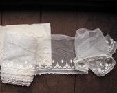 r e s e r v e d -- Antique wide filet net lace panel - Victorian tudor rose border pattern mesh lace trim - price per metre