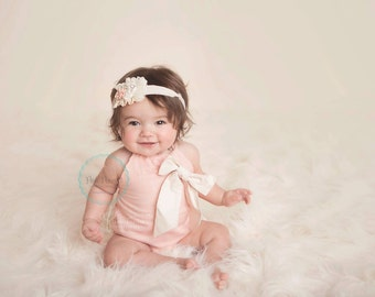 baby girl romper- baby romper- bubble romper- baby girl clothing- Ruffle Romper- Baby Romper for Girls- baby playsuit- linen- vintage romper