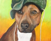 12x16 custom pet portrait personalized painting dog cat acrylic/oil pitbull art