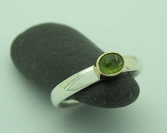 tourmaline ring in silver and gold