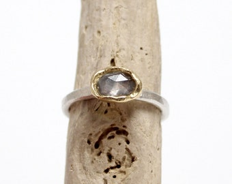 Sapphire ring with silver and gold, alternative engagement ring, rustic engagement ring