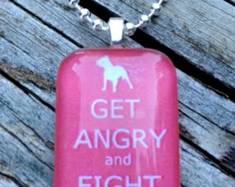 Get Angry  And Fight BSL  Game Tile Pendant Necklace