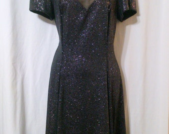 S L Fashions 1980's Black Glitter Print Cocktail Evening Dress Size 10