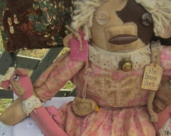 COW RAG DOLL~ Primitive Doll~ Farmhouse Decor~ Primitive~ Cowgirl~ Farm Animals~ Cow, Pink~ Sheep, Pig, Chicken, Up cycled, Shabby Chic,
