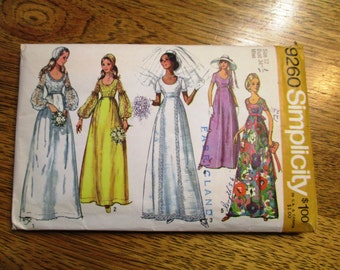 """1970s Romantic Empire WEDDING Gown - Puff Sleeves & Bonnet - Size 12 (Bust 34"""") - VINTAGE Sewing Pattern Simplicity 9260"""