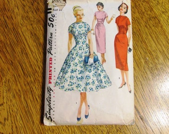 """SEXY 1950's Mid-Century Modern WIGGLE Gown / Sleeveless Cocktail Gown - Size 13 (Bust 31"""") - VINTAGE Sewing Pattern Simplicity 1510"""
