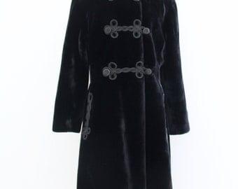 1960s Black Faux Fur Long Coat Mid Calf Brocade Closures Jenny Gidding Winter Womens Vintage Large