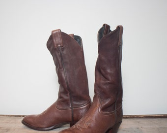 6 1/2 B | Vintage Tony Lama Western Boots Brown Leather Cowboy Boots with Skinny Shafts