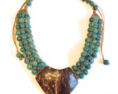 Green Seed Cascades Necklace (Eco Friendly and Eco Fashion Jewelry) Acai seeds and Coconut Pendant Necklace