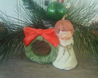 Vintage Jasco Christmas Tree Ornament / Bisque Angel Bell