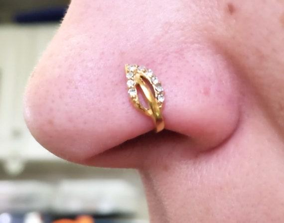 Rose Gold Boho Nose Ring Leaf Nose Hoop Nose Piercing