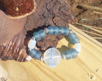 Blue Glass Stretchy Bracelet