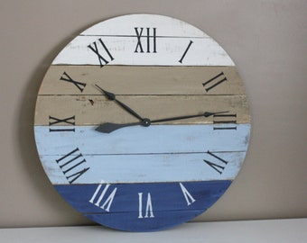 "Large Reclaimed Wood Clock. Coastal Blues. Beach House Inspired. 26"" in diameter. Customize your colors and numbers. Gift idea."