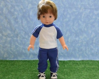 """18"""" Boy Doll Clothes - Fits American Doll - Götz - Blue and White Sweats Outfit - Handmade"""
