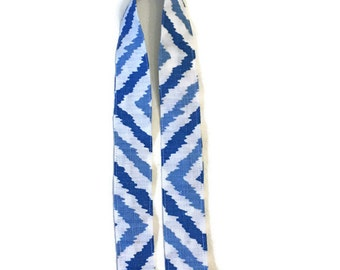 TOP of Lanyard regular length blue and white fabric with gold tone hardware