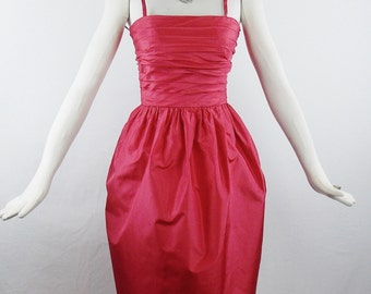 Vintage GIVENCHY NOUVELLE BOUTIQUE Red Coctail Ruched Tulip skirt Dress Spaghetti Straps Size Small