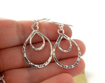 Double Loop Lace Earrings: sterling silver earrings, dangle earrings, hoop earrings, hammered earrings, tear drop earrings, polished