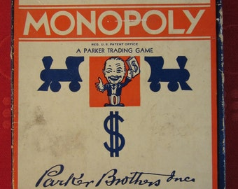 "Vintage 1936 Edition of ""Monopoly"" A Parker Trading Game - No Board"