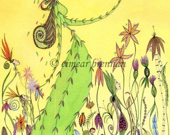 Nature Spirits in the Garden. Signed limited edition print (garden spirits, summer print, yellow print, magic)