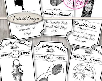 College Student Shoppe Labels Printable ink saver college gift funny digital download instant download digital collage sheet - VDAPRE1449