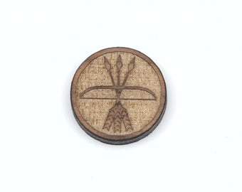 6 BOW and ARROWS Symbol, Laser Cut Supplies, Laser Engraved Wood, Earring Gauge Plug, Sustainable Wood Supplies, lcw0041