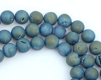 2 Round Beads, Titanium Coated Crystal DRUZY AGATE, blue, green, yellow  14mm gdz0034
