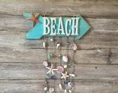 Beach Signs, Beach Wall Decor, Beach House Signs, Coastal Signs, Sea Shell Wind Chime, Coastal Decor, Beach House Decor, Beach Decor Coastal