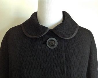 50s Forstmann Black Winter Coat - Vintage Dress Coat - Size Medium