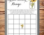 Sunflowers Bingo Bridal Shower Game, Bridal Shower Bingo, AS IS, INSTANT Download - 5x7, sunflowers bridal bingo, vintage, gray, 5249