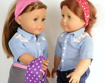 Party Favors Doll Headbands Fits 18 Inch Fashion Dolls/Birthday Party Favors/Doll Party/Red Pink and Purple Polka Dot Doll Headbands