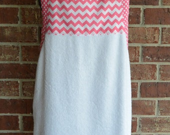 Baby Bath Apron Towel, White with Pink Chevron and Polka Dots With or Without Monogram