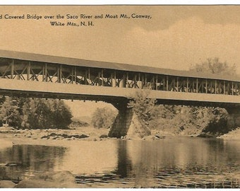 Covered Bridge over the Saco River Moat Mt. Conway, White Mountains New Hampshire Black and White Photograph Vintage Postcard