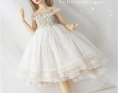 Beige and ivory lace dress set for MSD 1/4 size doll Minifee bjd clothes slim mini