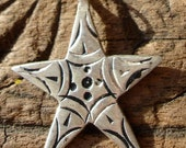 Moroccan small star hand engraved pendant with dots in centre