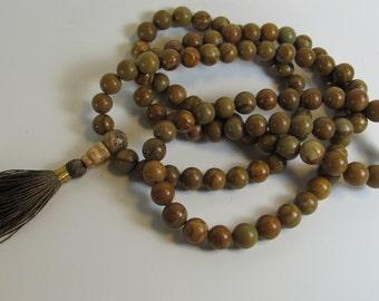 Ready to ship Mala - tigerskin jasper 108 beads buddhist mala - hippie necklace - brown tassel necklace - yoga jewelry