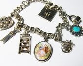 Vintage Valentine Charm Bracelet by Kent in Silver-tone with Added Charms