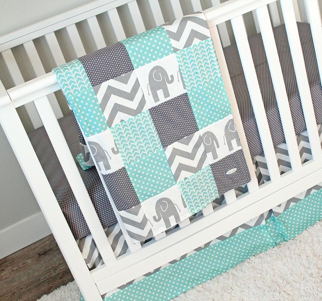 Elephant Crib Bedding Set Mint Grey Nursery Bedding