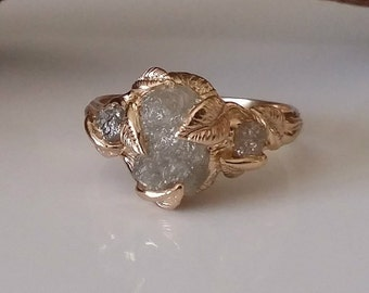 Made to Order, 14k Gold Raw Uncut Rough 3 Diamond Engagement Ring, Yellow Gold Wedding Ring Cruelty-Free Rough Diamond Ring by Dawn Vertrees