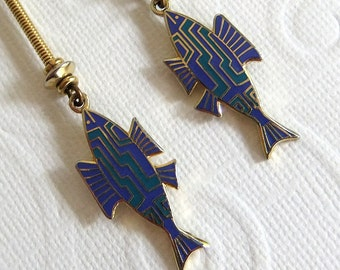 Vintage Laurel Burch Golden Aztec Fish Dangle Earrings in Turquoise Blue and Purple - Pierced, Shepherds Hook, Enamel, Bold, Collectible