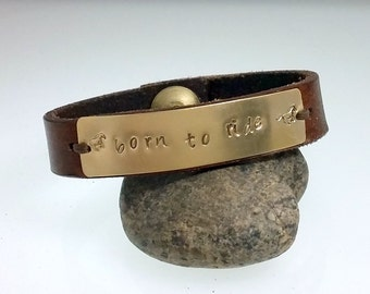 Brass Leather Bracelet, Leather Wrap Bracelet, Gift for Her, Horse Jewelry, Leather Cuff, Personalized Bracelet, Brass Placard, Born to Ride