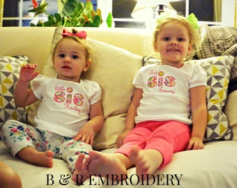 Coordinating Sibling Shirts Big Sister Little Sister Applique Personalized Embroidered Name Long or Short Sleeve  Custom Shirt Sibling Shirt